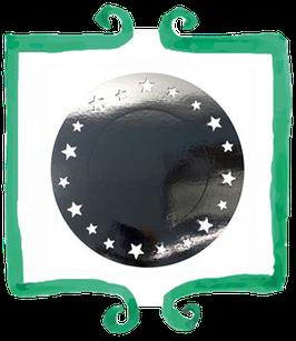 Sottopiatto Nero con Stelle glitterate - 2 pezzi