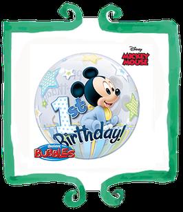 Palloncino Bubble Happy Birthday Baby Topolino