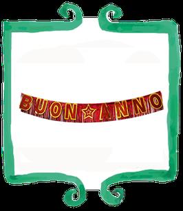 Festone Buon Anno rosso e oro - 3 mt