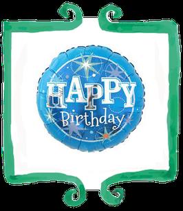 Palloncino Happy Birthday celeste - Qualatex