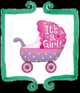 "Palloncino mylar Carrozzina It's a girl! - 35"" (89 cm)"