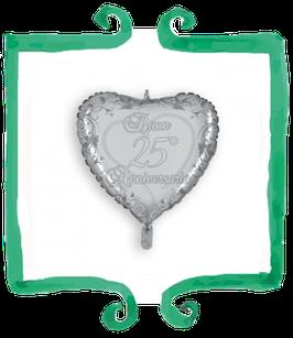 Palloncino mylar a forma di cuore Buon 25° Anniversario - 18 in (45 cm)