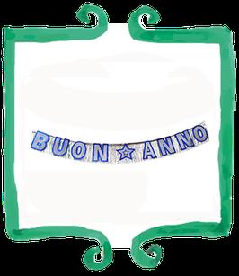Festone Buon Anno blu e argento - 3 mt