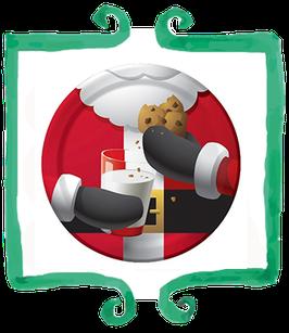 Piatto grande Babbo Natale con biscotti  23 cm - 8 pezzi
