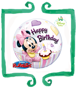 Palloncino Bubble Happy Birthday Baby Minnie