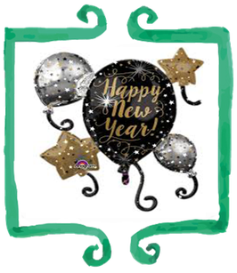 Palloncino Mylar Capodanno Happy New Year!- 29 in x 30 in (73 cm x 76 cm)