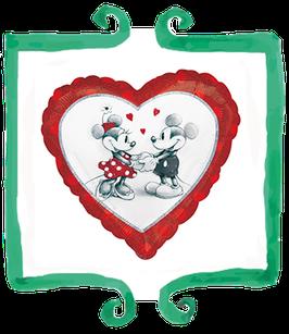 Palloncino Cuore Minnie e Topolino metallizzato
