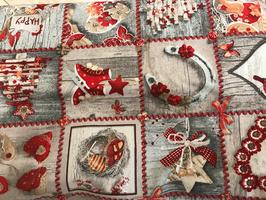 Baumwollstoff Weihnachts-Motive Quadrate