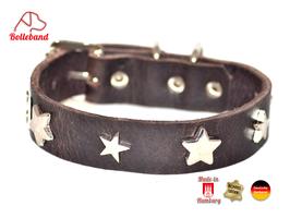 Hundehalsband Sterne 1 braun Leder Bolleband