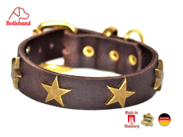 Hundehalsband Sterne 3 braun Leder Bolleband