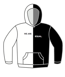 WE ARE EQUAL. HOODIE - WHITE / BLACK