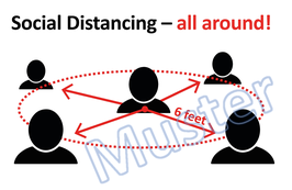 "Plakat ""Social Distancing - all around!"" in  Englisch, Farbdruck"