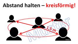 """Plakat """"Abstand halten - kreisförmig!"""" in Deutsch, Farbdruck"""