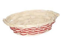 20 ceste vimini bianco naturale intreccio rosso ovale cm38x27h10