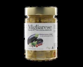 Auberginenstreifen in Olivenöl