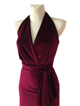 Samt Kleid Bordeaux Rot