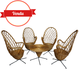 Salon complet osier et métal design des années 50