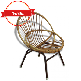 Petit fauteuil coquille en rotin des années 60 pour enfants