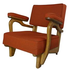 Fauteuil lounge design années 50 par Guillerme et Chambron