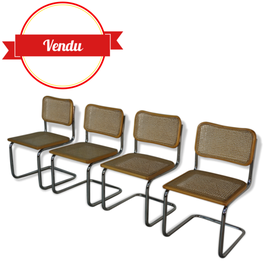 """Suite de 4 chaises """"Cesca B32"""" Marcel BREUER"""