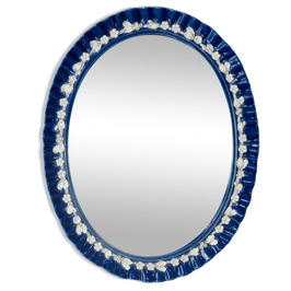 Miroir italien en porcelaine bleue