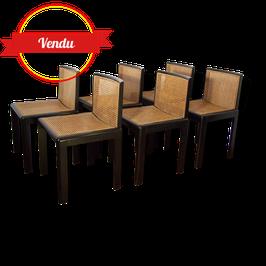 Lot de 6 chaises vintage rétro cannées