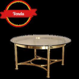 Table basse en laiton plateau verre fumé