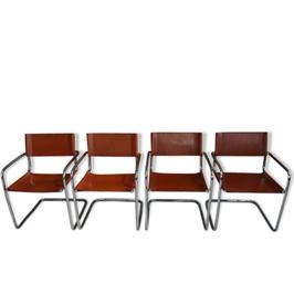 Suite de 4 fauteuils S34 design Mart Stam pour Fasem