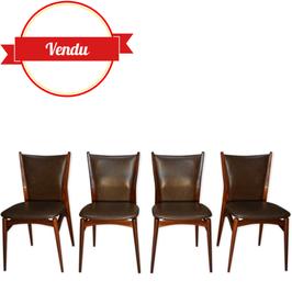 Suite de 4 chaises des années 50 design par Jos De Mey pour Van Den Berghe