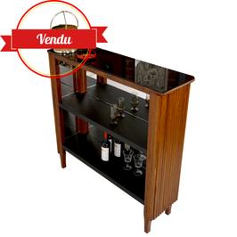 Bar vintage en bois années 60 simili cuir, verre noir et miroirs