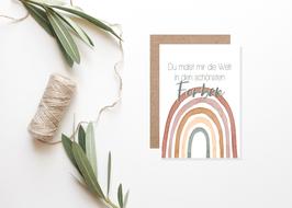 """Postkarte """"Du malst mir die Welt in den schönsten Farben"""""""