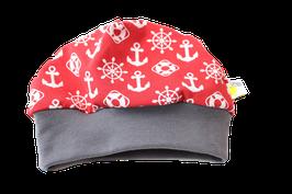 Mütze Maritim rot mit Anker & Steuerrad