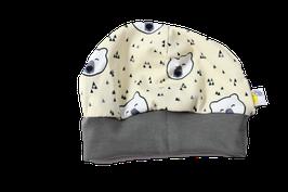 Mütze eisbär creme mit dunkelblauem Bündchen