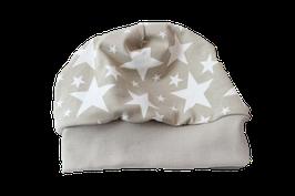 Mütze beige Sterne