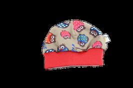 Mütze Eule braun/bunt