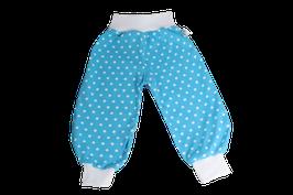 Wohlfühlhose hellblau mit weissen Punkten