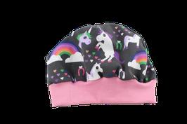 Mütze rosa/grau Einhörner