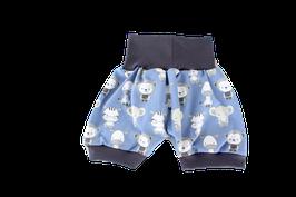 Shorts kurze Pumphose blau Babytiere Elefant Zebra