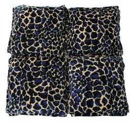 """4er Decke Fellimitat """"Giraffe blau"""""""