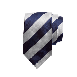 Krawatte mit breiten zweifarbigen sich wiederholenden Streifen, navy/silber