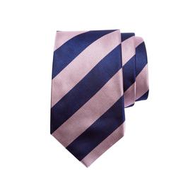 Krawatte mit breiten zweifarbigen sich wiederholenden Streifen, navy/rosa