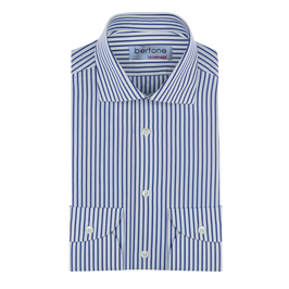 Hemd Classic, grob gestreift blau