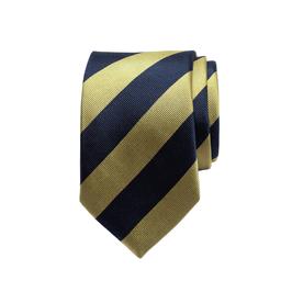 Krawatte mit breiten zweifarbigen sich wiederholenden Streifen, navy/gelb
