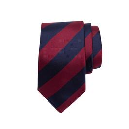 Krawatte mit breiten zweifarbigen sich wiederholenden Streifen, navy/rot