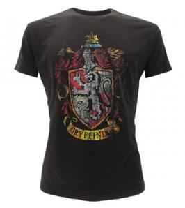T-shirt ufficiale nera di Harry Potter con lo stemma di GRIFONDORO