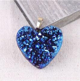 Aquaura drusa Cuore blu - Collanina