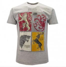 """Trono di Spade - Game Of Thrones """"T-Shirt"""" grigio chiaro 4 casate"""
