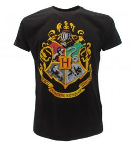 T-shirt ufficiale nera di Harry Potter con lo stemma di Hogwarts