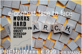 E-CONTENT FACE TO FACE PROJECT PREMIUM+++ per maand
