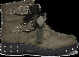 Kylie Khaki Studded Velvet Boots ES8501